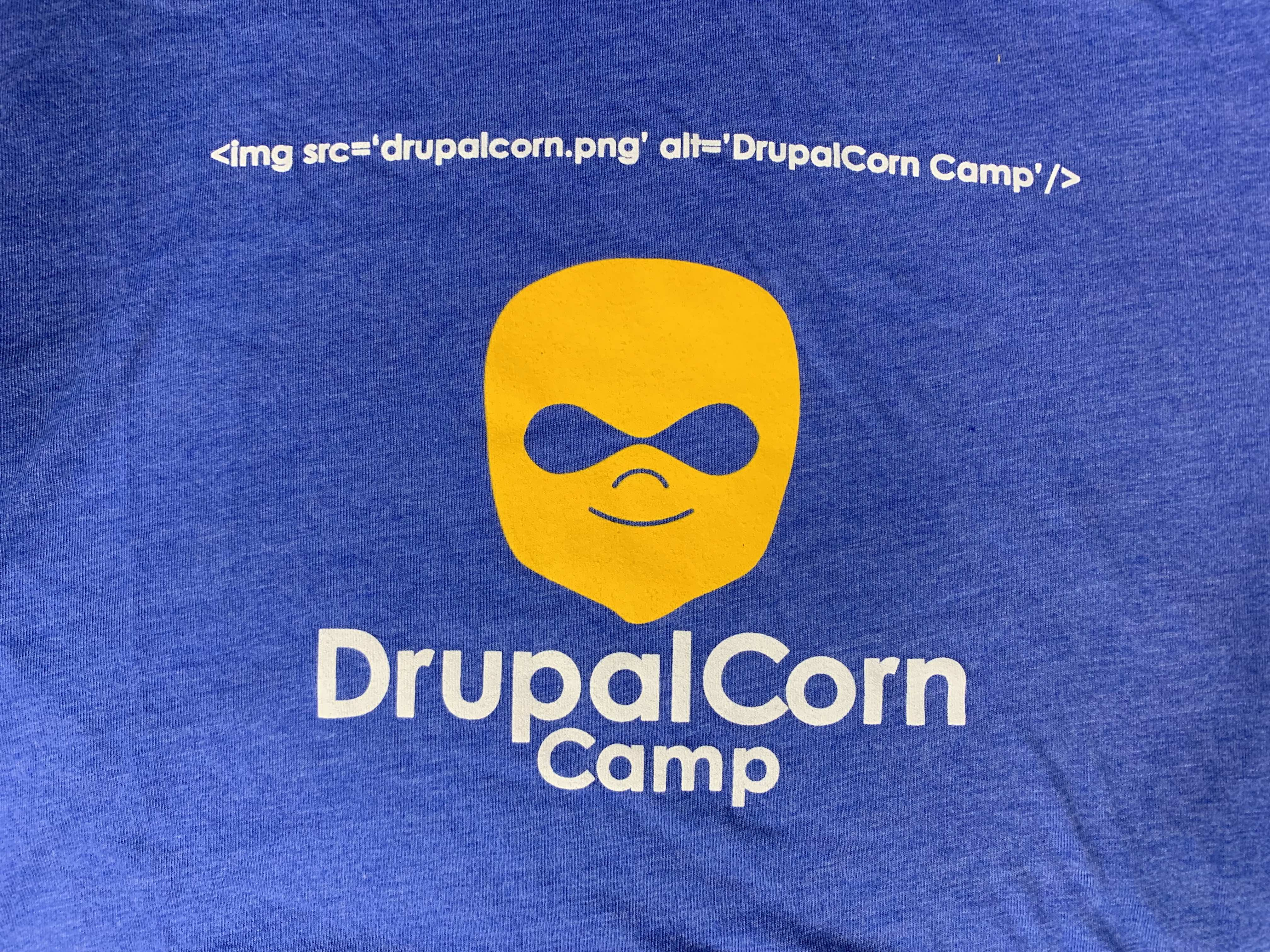 2015 DrupalCorn Shirt - Green with white lines.