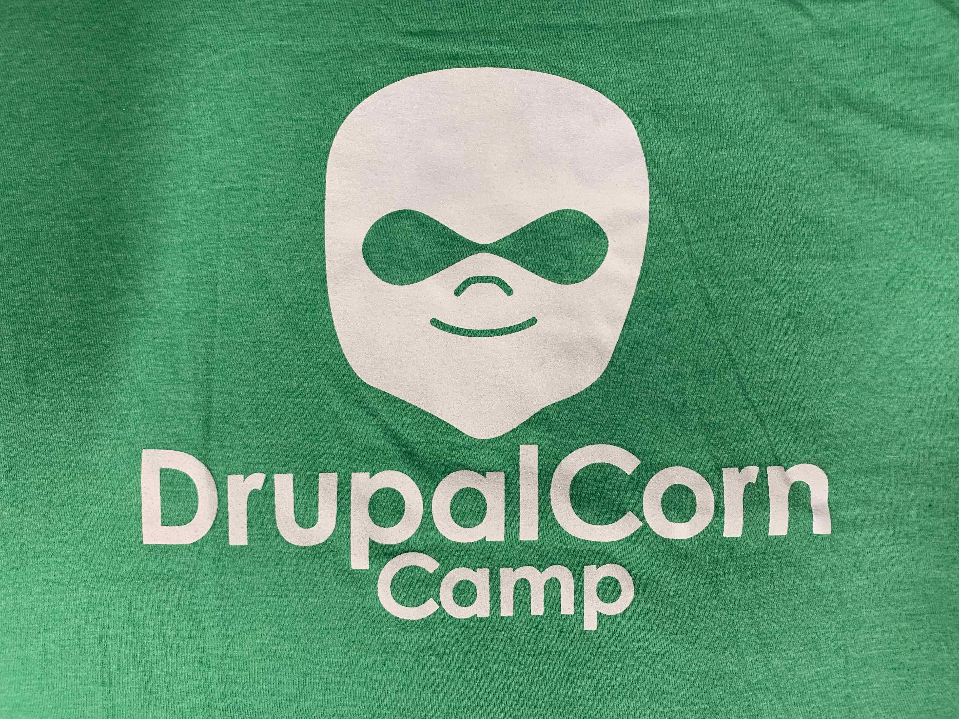 2016 DrupalCorn Shirt - Green with white lines.