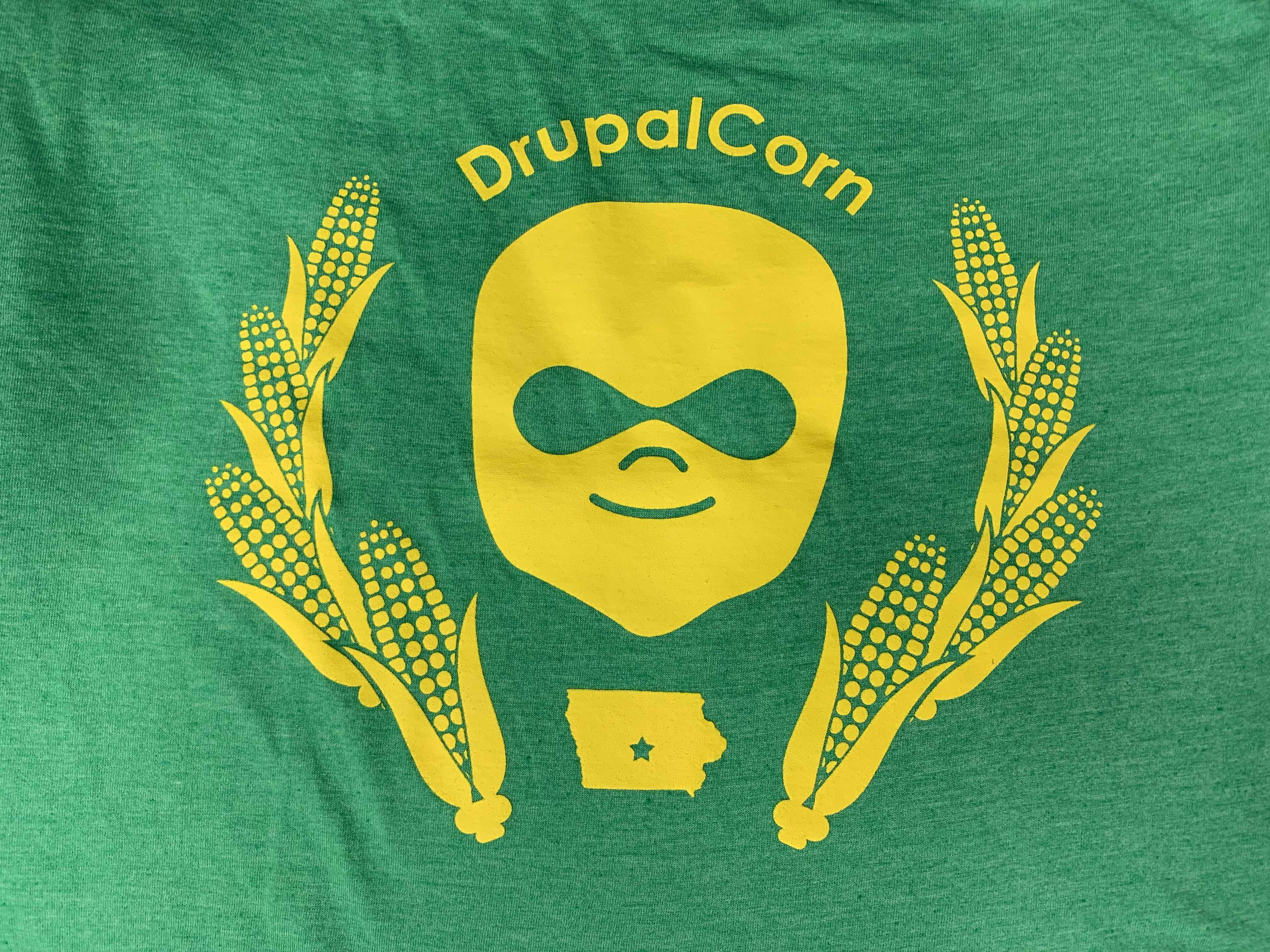 2018 Youth DrupalCorn Shirt - Green with white lines.